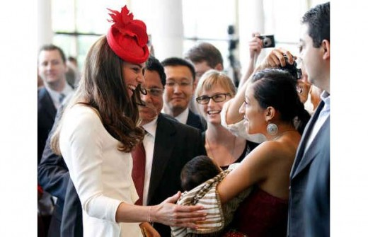 The Duchess greets new Canadian citizens and their families following a citizenship ceremony at the Canadian Museum of Civilization in Hull, Quebec near Ottawa