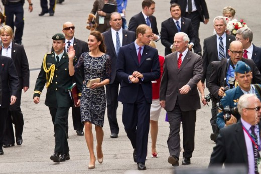The Duke and Duchess arrive at Rideau Hall with the Governor General of Canada, the Right Honourable David Johnston