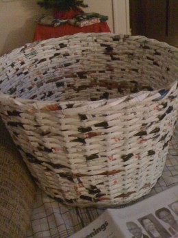 Basket made from recycled magazines