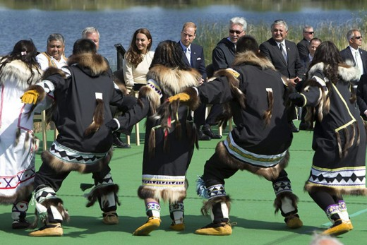 The Royal couple watch aboriginal dancers in Yellowknife