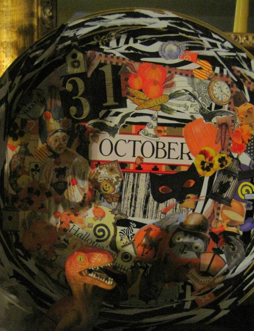 Old metal tray = Halloween Collage Decor