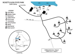 Cabin Map for Rickett's Glen State Park