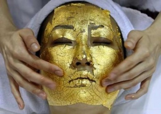 Facial using 24 karat gold