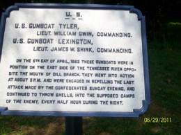 U.S. Gunboats Tyler and Lexington took positions on the East side of the Tennessee River, and went into action about 5 p.m., repelling the last Confederate attack Sunday evening, and continued shelling into the enemy camps every half-hour all night.