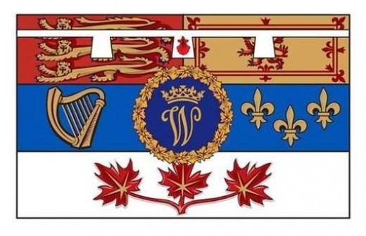 The Canadian Royal Standard of the Duke of Cambridge: the personal flag used by Prince William, the Duke of Cambridge, while he was on his visit to Canada