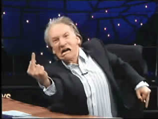 In this photo Bill Maher is apparently showing his I.Q.