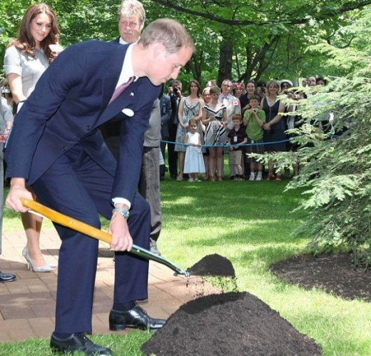 Prince William shovels dirt during a tree planting ceremony at Rideau Hall in Ottawa