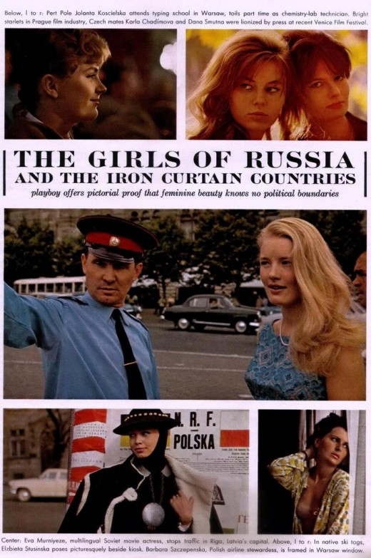 A page from a provocative issue of Playboy at the height of the Cold War, March 1964. The issue explored Socialist girls from the USSR and Eastern Europe.