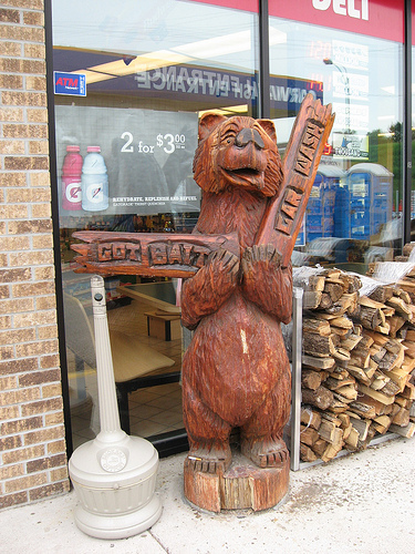 Chain Saw Carved Bear in Detroit Lakes Minnesota; artist unknown.