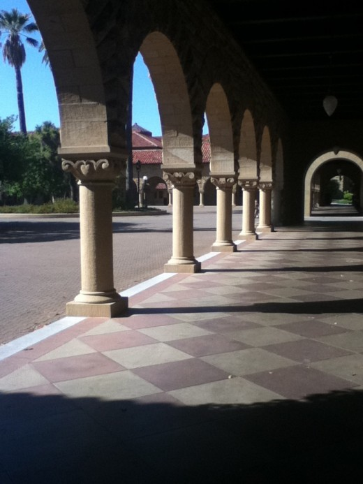 A hall in the Stanford quad at midday.
