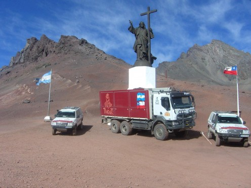 Rally Dakar Argentina-Chile-Argentina. Cristo Redentor, Andes mountains