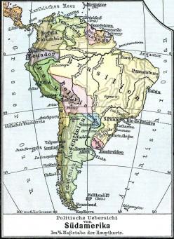 """1899 map of South America, (D. H. Lange """"Volksschul-Atlas"""", Dreihundertste Auflage, George Westermann in Braunschweig, 1899.)"""