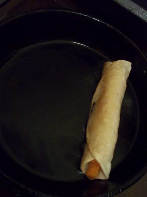 The carrot taquito in the cast iron skillet. Low oil