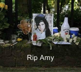 A memorial in front of Amy Winehouse's london home.