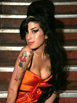 Amy Winehouse sporting her signature beehive hairdo