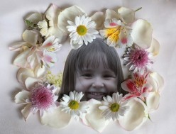 My granddaughter with floral frame