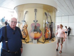 A guitar collection is on display in the main concourse.