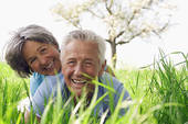 SENIORS CAN ALSO ENJOY LOVE. LOVE KNOWS NO AGE BOUNDARY. I ONLY WONDER IF THIS ELDERLY MAN HAS JUST FELL INTO THE GRASS.