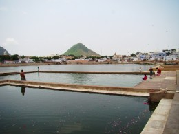 Puskar Lake with Sabitri Hill at the background