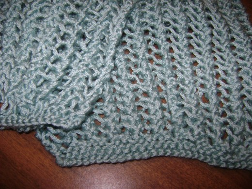 close-up view of knitted lace stitch pattern