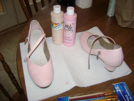 Shoes painted with pink acrylic