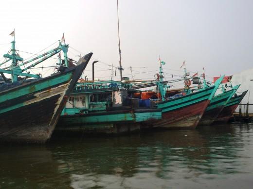 Ships for rent at Muara Angke.