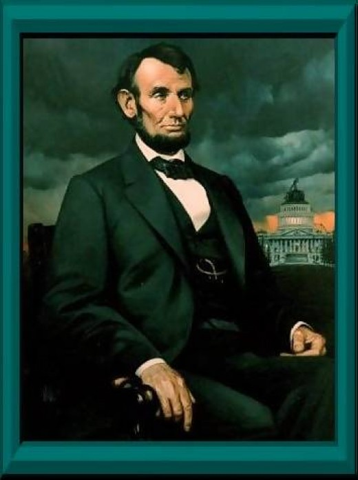 The oil painting of Lincoln is by artist and sculptor Richard R. Miller.