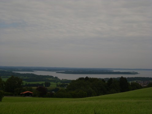 "View of Chiemsee  from ""Seiseralm"", Bernau am Chiemsee, Germany"