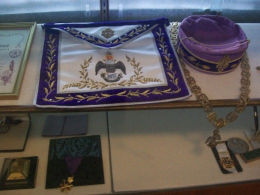 Photos from the museum room at the McAlester Scottish Rite Temple