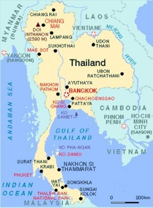 A map of Thailand and surrounding countries.