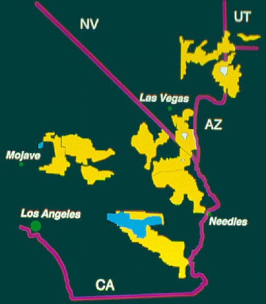 The United States Fish and Wildlife Service designated habitat critical to the survival and recovery of the Mojave populations of the desert tortoise in 1994.  Critical Habitat Units (yellow) were designated in California, Nevada, Utah and in Arizona