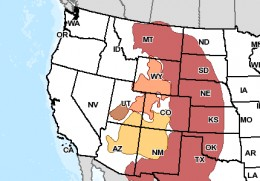 The brown area is South-west Utah is the only habitat area for the Utah Prairie dog.