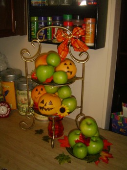 This was my counter in our old house. The oranges are drawn on with sharpie marker (it did not seep through to the fruit)