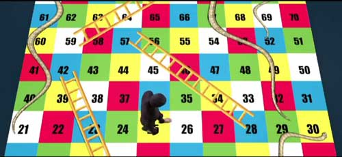 SpeakAsia portrays its business as adventure on a snakes and ladders game?