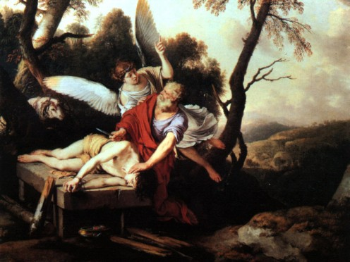 """Abraham Sacrificing Isaac"" - by Laurent de La Hire (1650) at Muse des Beaux-Arts"