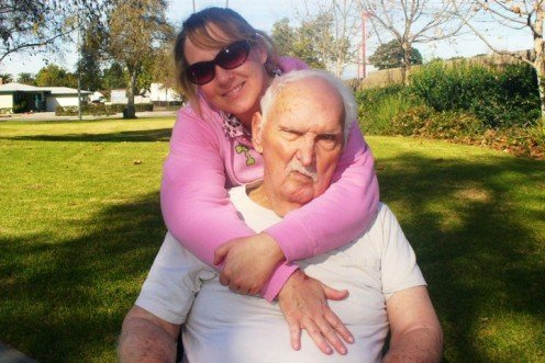 Dad and I on an outing in the park during his extended hospital stay in January of 2011.