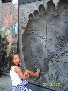By the Graumans's Theater, you can see the foot and hand imprints of many celebrities. This is an imprint of King Kong's foot. Obviosly it is much bigger than yours or mine!
