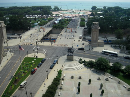 Grant Park and Lake Michigan from hotel window.