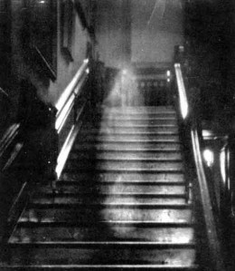 Most famous spirit photo of all time--The Brown Lady descending the stairs at Raynham Hall, Norfolk, England