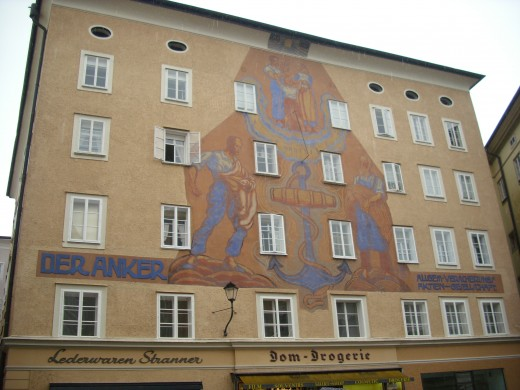 Painting on the wall of  Der Anker, Altstadt, Salzburg, Austria