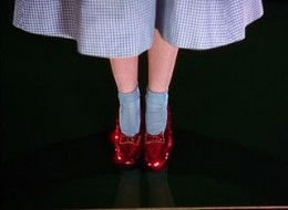 Ruby Red Slippers from Wizard of Oz worn by Dorothy in her blue dress and blue socks