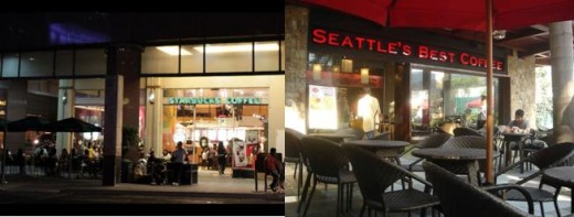 Starbucks 6750 Ayala - my first taste / Seattle's Best Coffe Greenbelt 3 - better seating