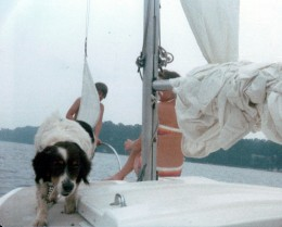 Image of my  younger brother, Billy, and I, along with our dog, Thumper, sailing on the Severn River