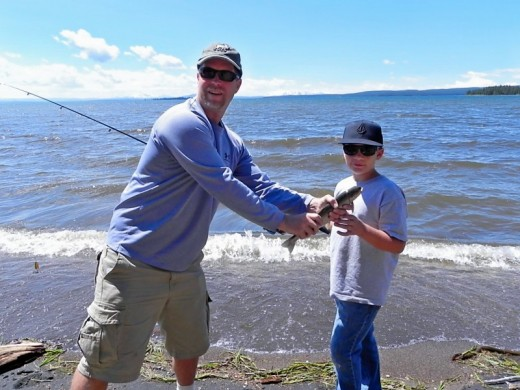 Jonah and Dad Yellowstone Lake