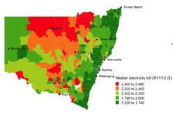 The map shows  those in country NSW  face the largest  dollar increases in  annual electricity bills because of higher existing prices  largest increase and network costs.