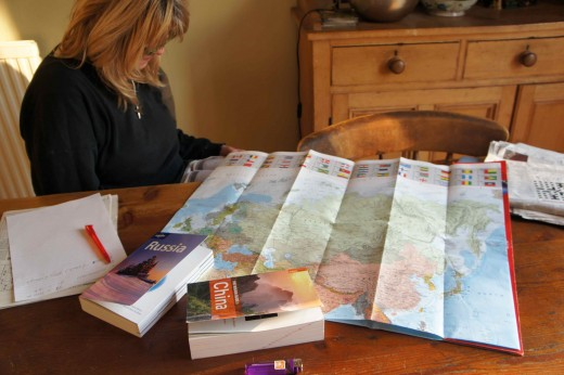 Our big world map came with us all the way...