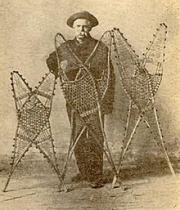 Mellie Dunham with his snowshoes.