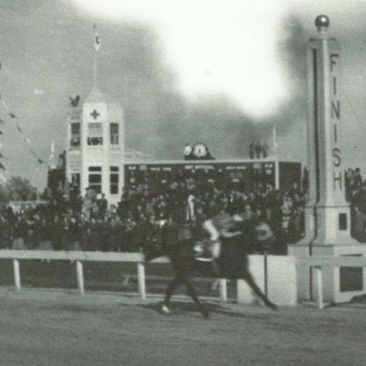 Count Fleet, sixth American Triple Crown victor, hits the finish wire in the 1943 Kentucky Derby