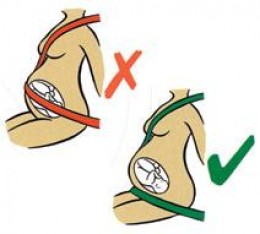 Seat belts worn correctly and air bags turned on are recommended during pregnancy.