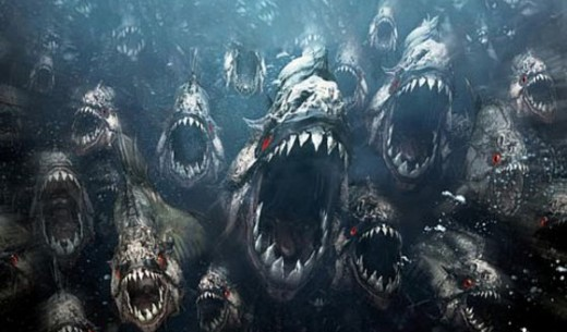 The deadly piranhas of Piranha 3D